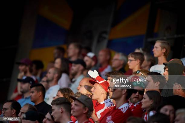 Danish fans cheer during the international friendly match between Denmark and Mexico at Brondby Stadion on June 9, 2018 in Brondby, Denmark.