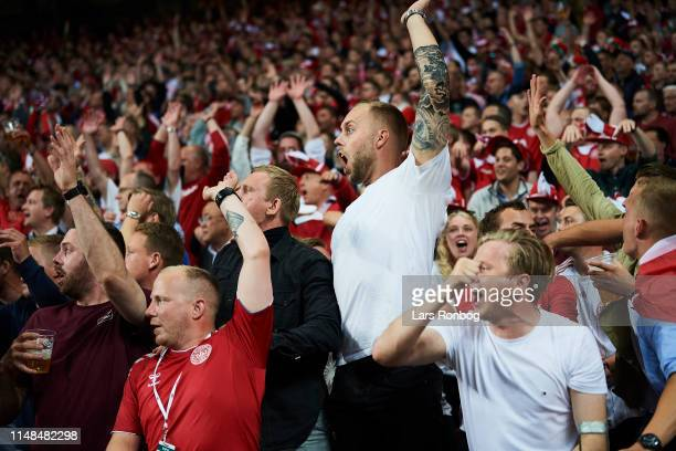 Danish fans cheer during the UEFA Euro 2020 Qualifier match between Denmark and Ireland at Telia Parken on June 6, 2019 in Copenhagen, Denmark.