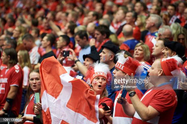 Danish fans during the IHF Men's World Championships Handball Final between Denmark and Norway in Jyske Bank Boxen on January 27, 2019 in Herning,...