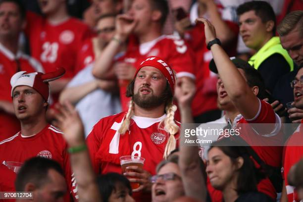 Danish fans during the international friendly match between Denmark and Mexico ahead of the FIFA World Cup Russia 2018 at Brondby Stadion on June 9...