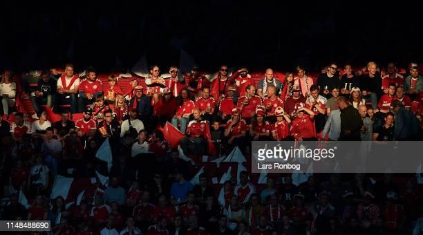 Danish fans in the sun during the UEFA Euro 2020 Qualifier match between Denmark and Ireland at Telia Parken on June 6, 2019 in Copenhagen, Denmark.