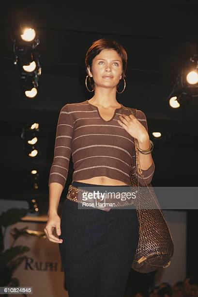 Danish fashion model Helena Christensen at the Ralph Lauren Spring 1997 collection fashion show in New York City 30th October 1996