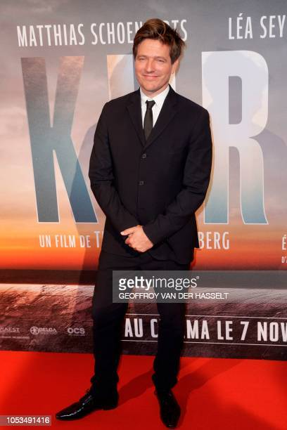 Danish film director Thomas Vinterberg poses on the red carpet prior to the premiere of his movie 'Kursk' at La Cite Du Cinema on October 25 2018 in...