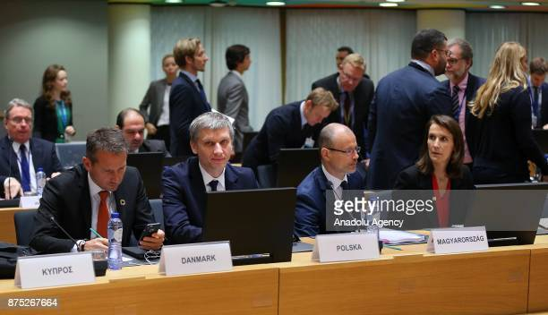 Danish Finance Minister Kristian Jensen and Belgian Minister of Budget Sophie Wilmes attend EU Economic and Financial Affairs Council in Brussels...