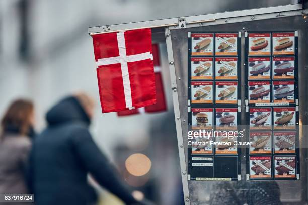 danish flag at hot dog stand - tradition stock pictures, royalty-free photos & images