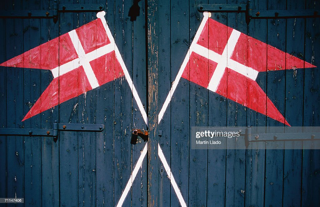 Danish Flags Painted On Doors Of Lifesaving Station Sonderho - Denmark flags