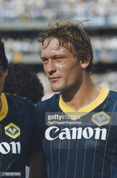 Danish footballer Preben Elkjaer, striker with Hellas Verona FC, pictured prior to playing for Verona in a Serie A match in 1984 during the 1984-85...