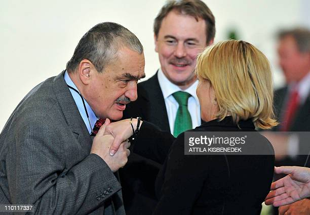 Danish Foreign Ministers Lene Espersen is greeted by her Czech counterpart Karel Schwarzenberg prior to the informal council meeting of European...