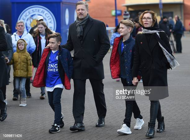 Danish former goalkeeper Peter Schmeichel arrives ahead of the English Premier League football match between Leicester City and Burnley at the King...