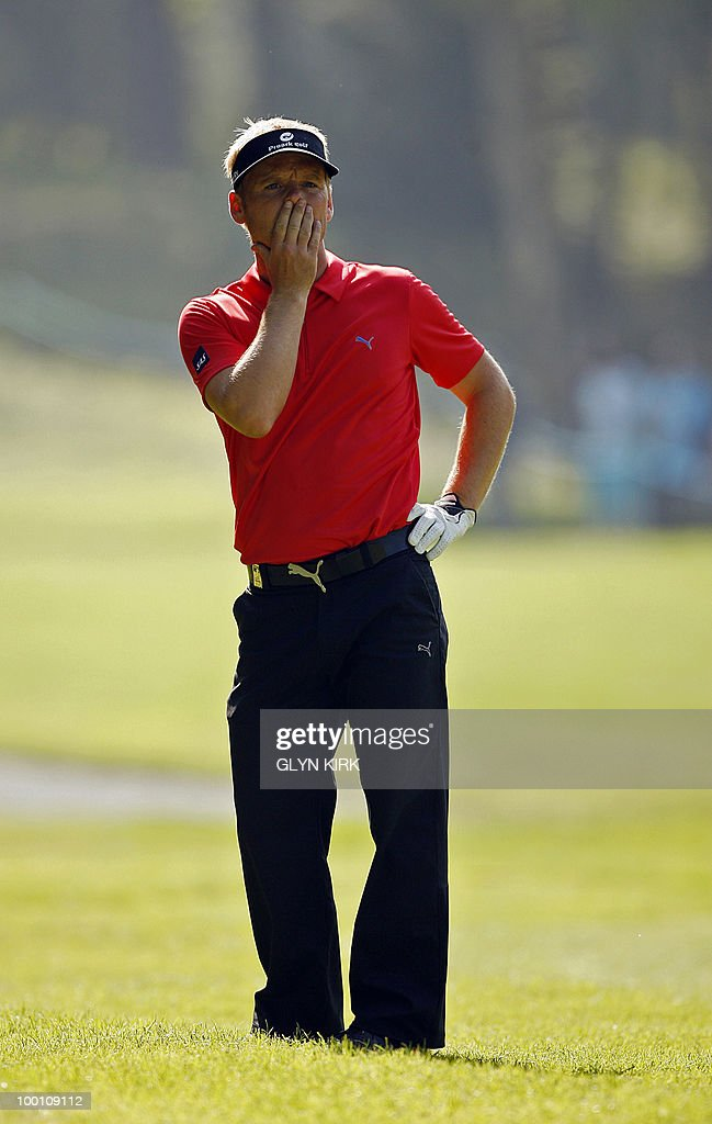 Danish golfer Soren Kjeldsen reacts on the 6th fairway during the second day of the PGA Championship on the West Course at Wentworth, England, on May 21, 2010.