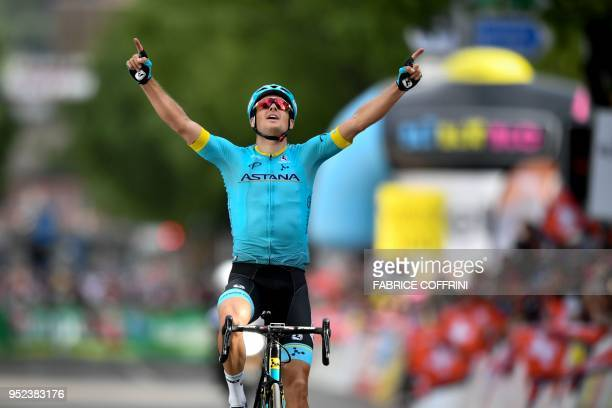 Danish Jakob Fuglsang of Astana team celebrates after winning the 4th stage of the 1492km Sion to Sion race during the Tour de Romandie UCI Pro...