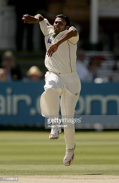 Danish Kaneria of Pakistan bowls during day two of the first npower test match between England and Pakistan at Lord's on July 14 2006 in London...