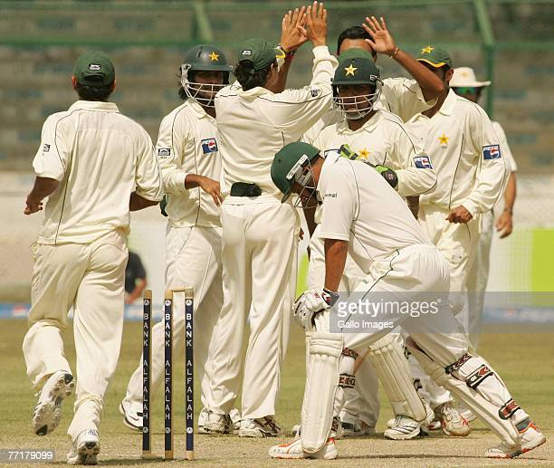 Danish Kaneria of Pakistan celebrates the wicket of Ashwell Prince of South Africa during day four of the first test match between Pakistan and South...
