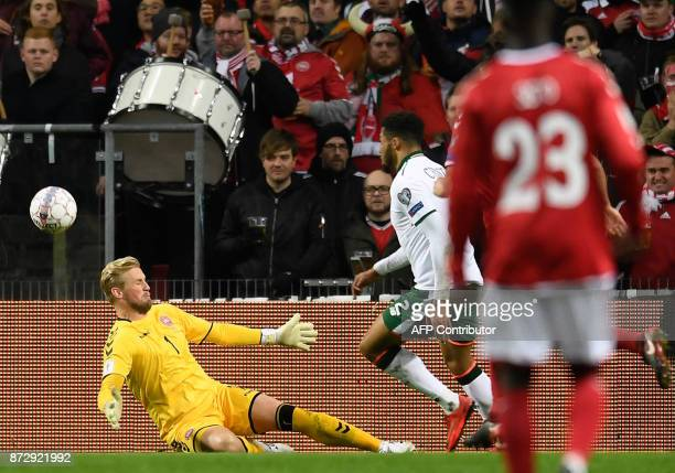 Danish keeper Kasper Schmeichel saves a ball during the playoff FIFA World Cup 2018 qualification football match of Denmark vs the Republic of...