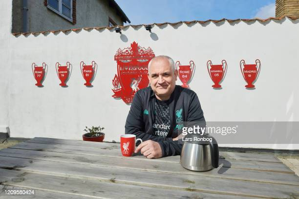 Danish Liverpool FC fan in front of his house in Skaelskoer Denmark Kjeld Rinfeldt has been a dedicated fan of british football club Liverpool FC for...