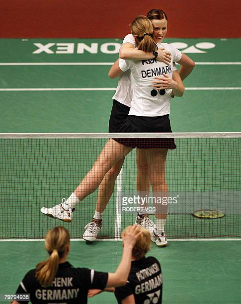 Danish Marie Roepke and her teamplayer Kamilla Juhl celebrate after winning the womens doubles semi final match against Germany on February 16 2008...
