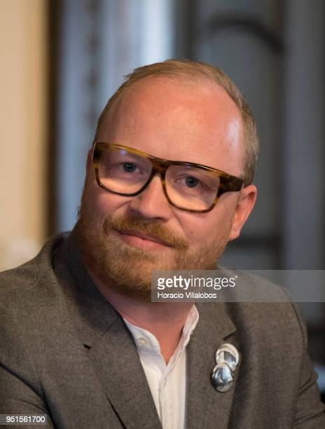 Danish Member of Parliament for 'The Alternative' party Rasmus Nordqvist seen during the press conference in which Former Greek Finance Minister...