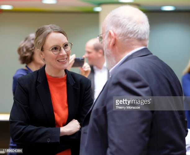 Danish Minister for the Environment Lea Wermelin is talking with the EU Commissioner for European Green Deal First Vice President and Executive Vice...