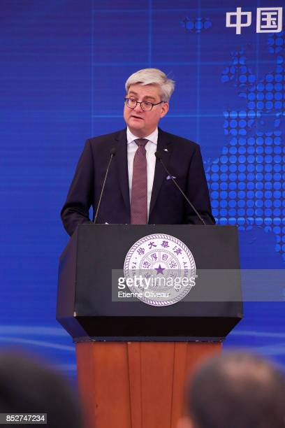 Danish Minister of Higher Education, Soren Pind holds a speech during the Opening of the Sino-Danish high-level seminar, Educating the leaders of...