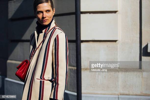 Danish model Caroline Brasch Nielsen exits the Acne Studios show at Hotel Potocki in a Dries Van Noten jacket on March 05 2016 in Paris France