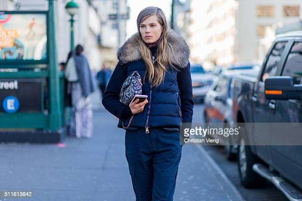 Danish model Caroline Brasch Nielsen seen outside Calvin Klein during New York Fashion Week: Women's Fall/Winter 2016 on February 18, 2016 in New...