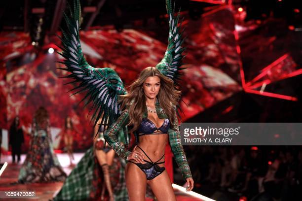TOPSHOT Danish model Josephine Skriver walks the runway at the 2018 Victoria's Secret Fashion Show on November 8 2018 at Pier 94 in New York City...