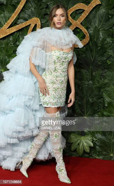 Danish model Josephine SkriverKarlsen poses on the red carpet upon arrival to attend the British Fashion Awards 2018 in London on December 10 2018...