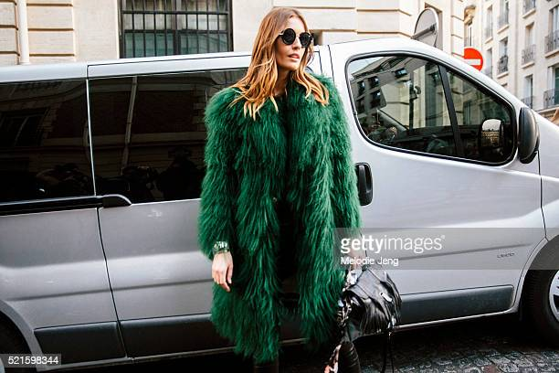 Danish model Nadja Bender wears a green Saks Potts fur coat after the Balmain show at Hotel Potocki on Day 3 of PFW FW16 on March 03 2016 in Paris...