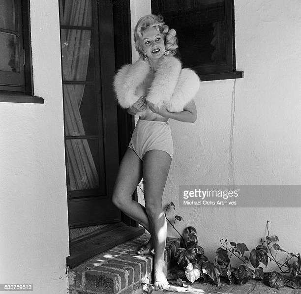 Danish model/actress Greta Thyssen poses at home for a portrait session in Los AngelesCA