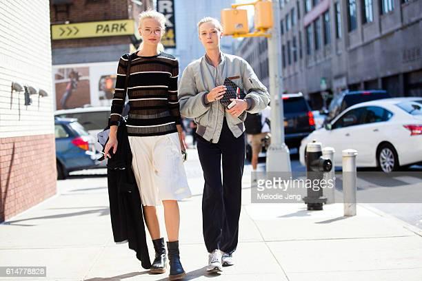 Danish models Frederikke Sofie and Ulrikke Hoyer exit the Boss Women show at Skylight Clarkson Sq on September 14 2016 in New York City Frederikke...