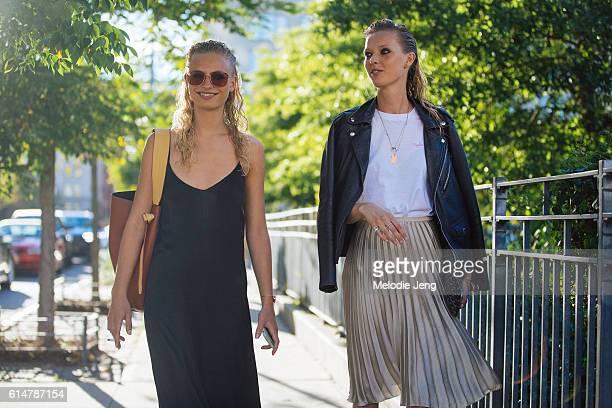 Danish models Frederikke Sofie Ulrikke Hoyer after the Altuzarra show at Spring Studios on September 11 2016 in New York City Frederikke wears a...