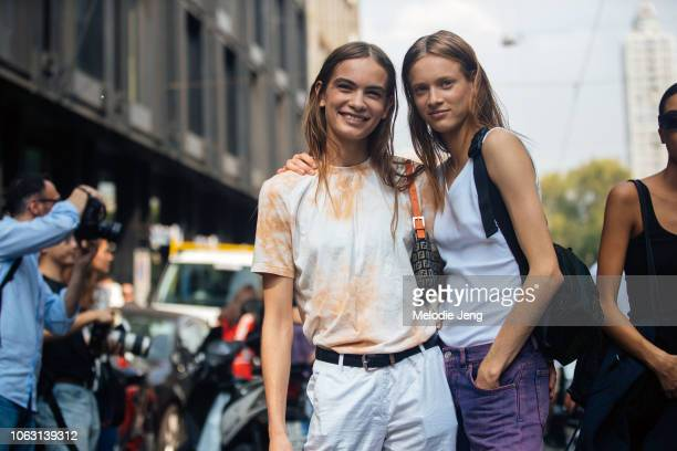 Danish models Nina Marker and Sarah Dahl after Sportmax during Milan Fashion Week Spring/Summer 2019 on September 21 2018 in Milan Italy Nina wears a...