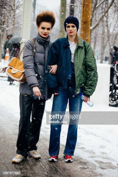 Danish models Nina Marker Sarah Dahl after the Chanel show during Couture Fashion Week Spring/Summer 2019 on January 22 2019 in Paris France
