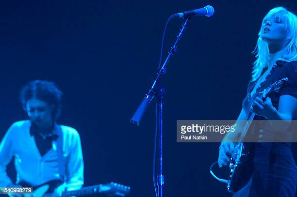 Danish musicians Sune Rose Wagner and Sharin Foo of the group the Raveonettes as they perform onstage at the Allstate Arena Chicago Illinois November...