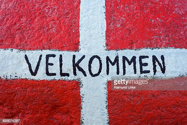 Danish National Flags Painted with Welcome
