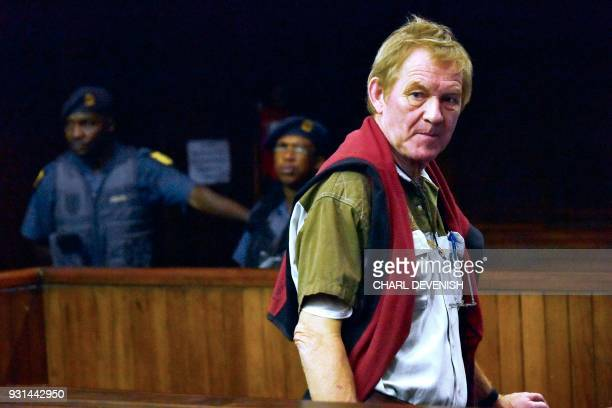 Danish national Peter Frederiksen looks on as he appears in the Bloemfontein High court on March 13 2018 for his judgement after he was arrested and...