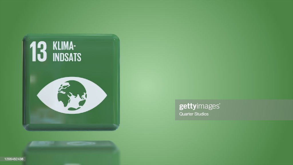 Danish Number 13 Climate action 3D box sustainability goals 2030 with copy space : Stock Photo