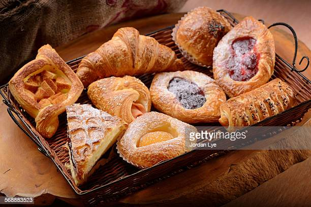Danish pastries on a Wicker basket