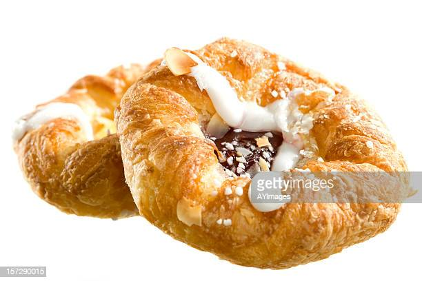 Danish pastry on white background