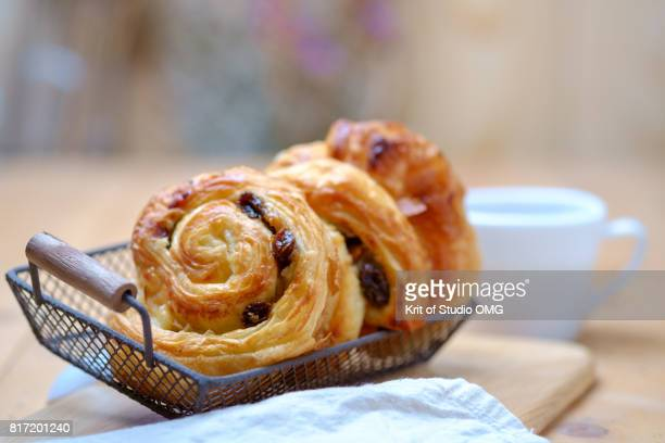 Danish pastry on wooden table