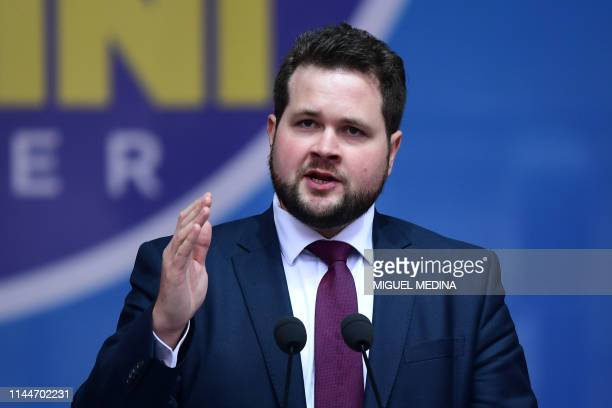 Danish People's Party member Anders Vistisen delivers a speech at a rally of European nationalists ahead of European elections on May 18 in Milan The...