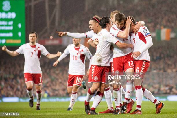 Danish players celebrate after scoring during the FIFA World Cup 2018 PlayOff match between Republic of Ireland and Denmark at Aviva Stadium in...