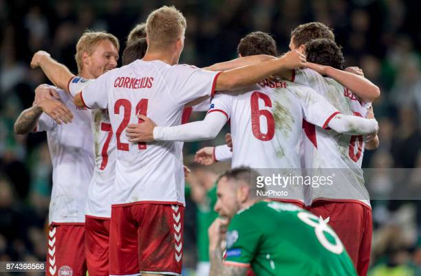 Danish players celebrate after the FIFA World Cup 2018 PlayOff match between Republic of Ireland and Denmark at Aviva Stadium in Dublin Ireland on...