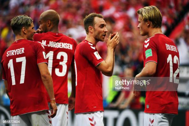 Danish players Jens Stryger Larsen Christian Eriksen and Kasper Dolberg celebrate during the 2018 FIFA World Cup Group C match between Denmark and...
