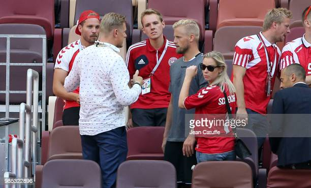 Danish players meet family members goalkeeper of Denmark Kasper Schmeichel between his father Peter Schmeichel and his wife Stine Gyldenbrand...