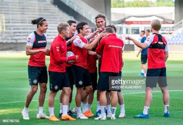 Danish players Yussuf Poulsen,Viktor Fischer, Andreas Christensen, Thomas Delaney, Michael Krohn-Dehli, Jannik Vestergaard, Christian Eriksen and...