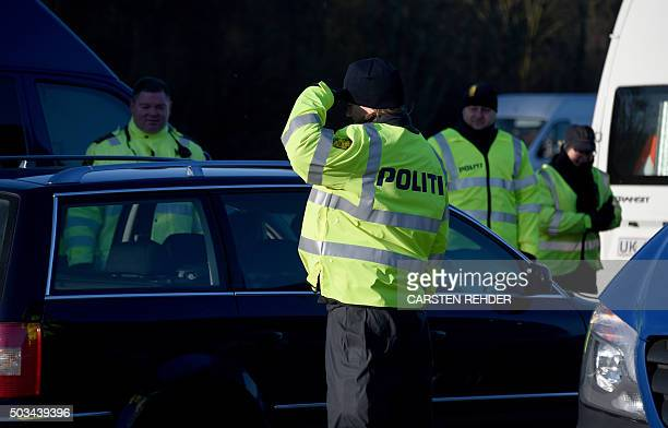 Danish police have set up a border control point on January 5 2016 at the border town of Krusa bei Flensburg Denmark announced the immediate...