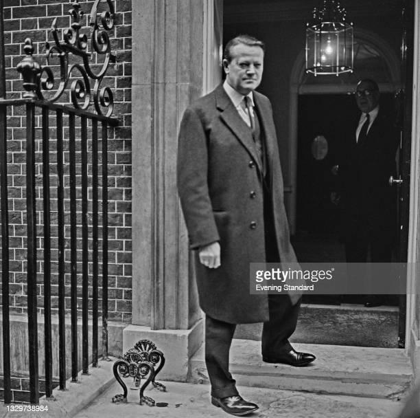 Danish politician Jens Otto Krag , the Prime Minister of Denmark, visits 10 Downing Street in London, UK, 11th November 1964.
