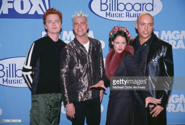 Danish pop group Aqua at the Billboard Music Awards at the MGM Grand in Las Vegas, 8th December 1997. From left to right, they are guitarist Claus...