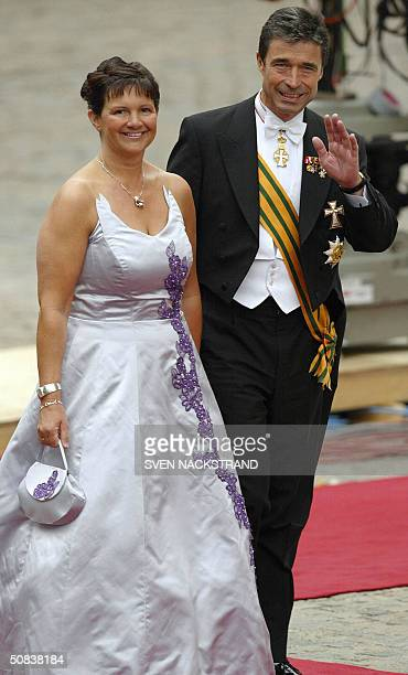 Danish Prime Minister Anders Fogh Rasmussen and his wife Anne-Mette arrive at the wedding of Crown Princess Mary Elisabeth Donaldson and Crown Prince...